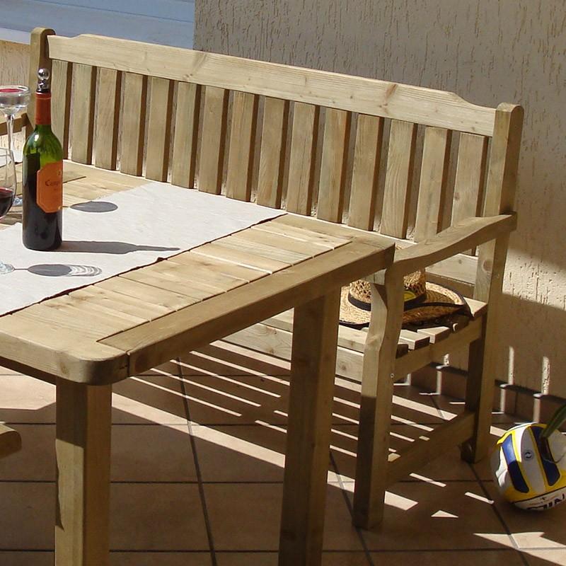 Banc avec accoudoirs pour table de jardin en pin autoclave - Abri de jardin autoclave classe 4 ...